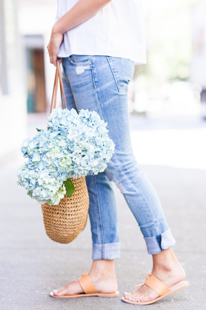 Rhyme & Reason Off The Shoulder Top With Boyfriend Jeans