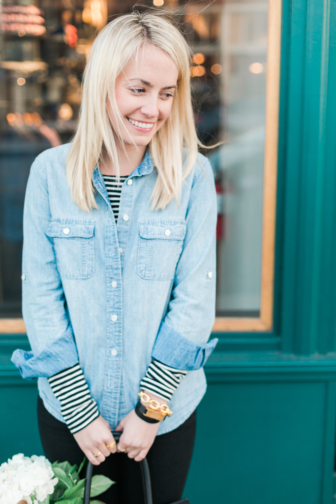 Chambray Over Stripes Outfit on Rhyme & Reason Fashion Blog