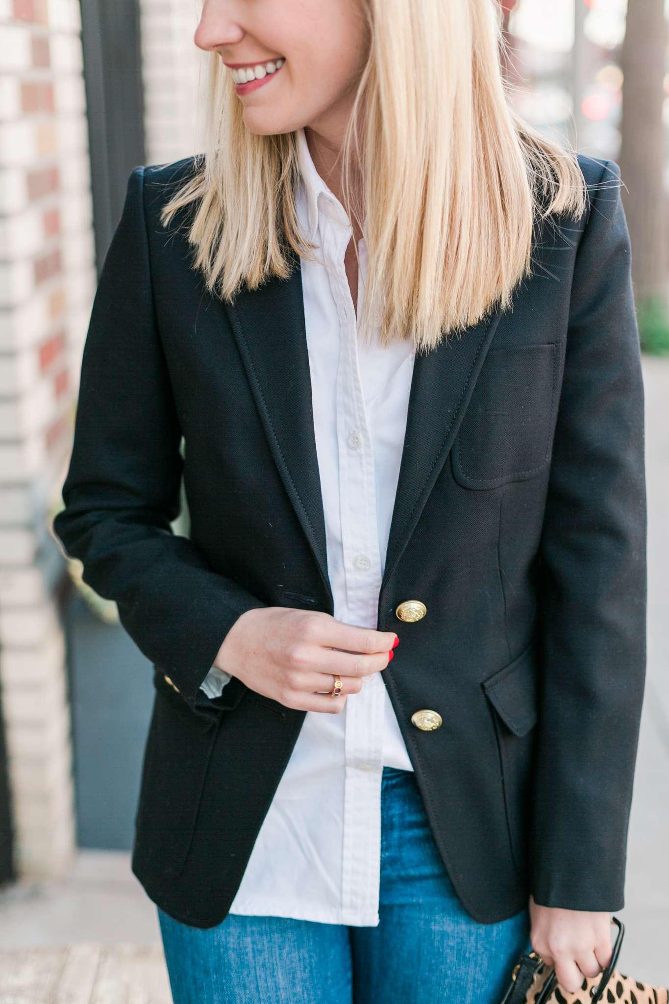 Rhyme & Reason J.Crew Navy Blazer, White Button Down Shirt, Clare V Leopard Clutch, Stuart Weitzman OTK Suede Boots Fashion Outfit