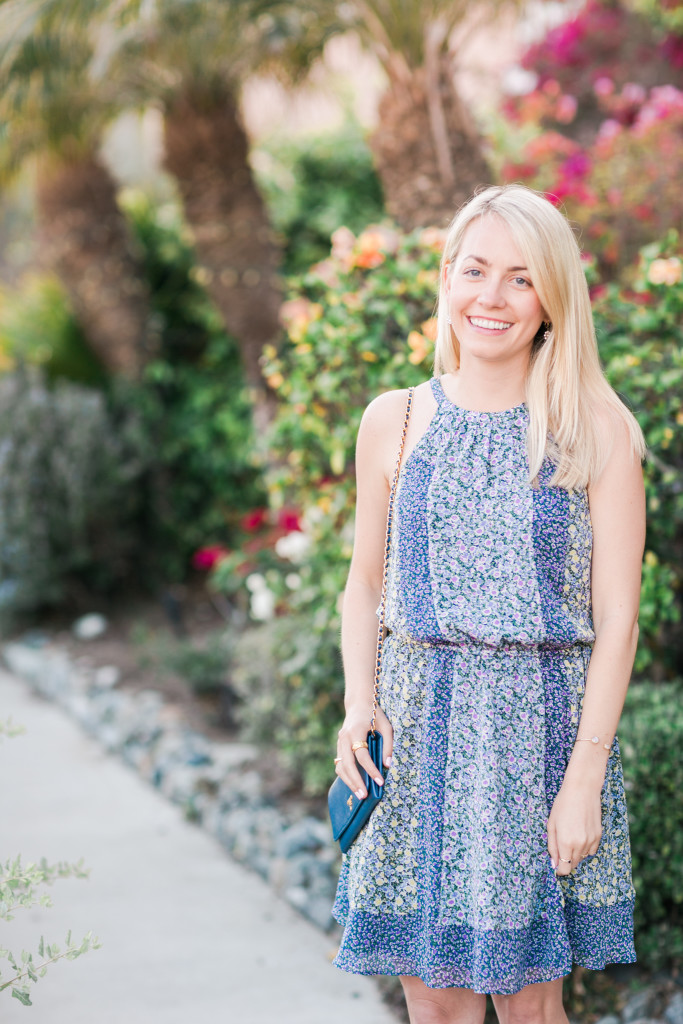 Joie Flowy Floral Dress with Saddle Brown Block Heels on Rhyme & Reason Fashion Blog