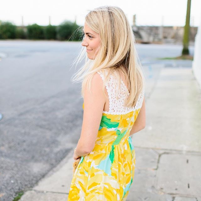 Lilly Pulitzer Yellow & Lace Dress on Jillian Attaway of Rhyme & Reason in Charleston