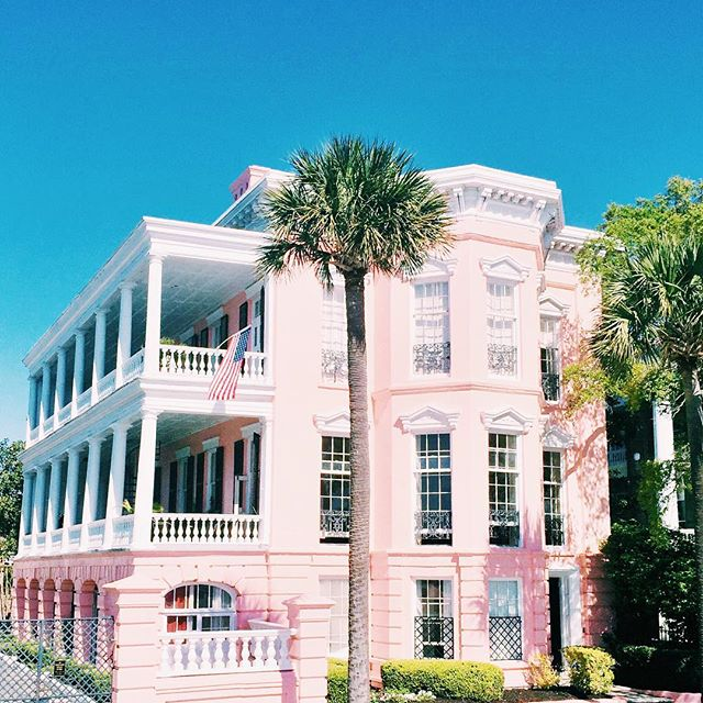 Pink House on The Battery in Charleston South Carolina