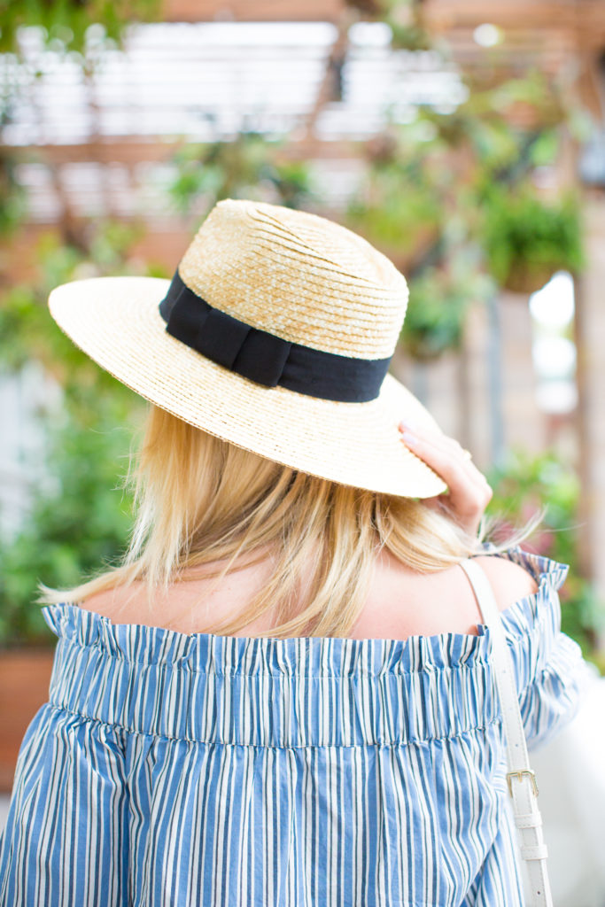 Stripe Off The Shoulder Top, Bucket Bag, Straw Hat, Tassel Sandals, and Distressed Denim in Miami on Rhyme & Reason Fashion Blog