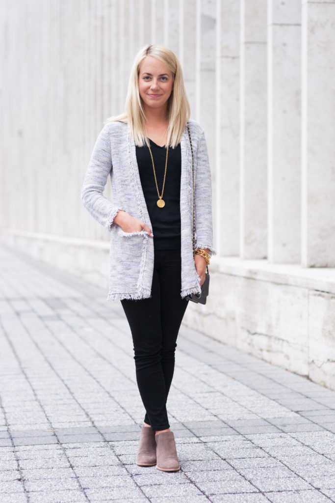 Knit Cardigan, Black Jeans & Booties on Rhyme & Reason
