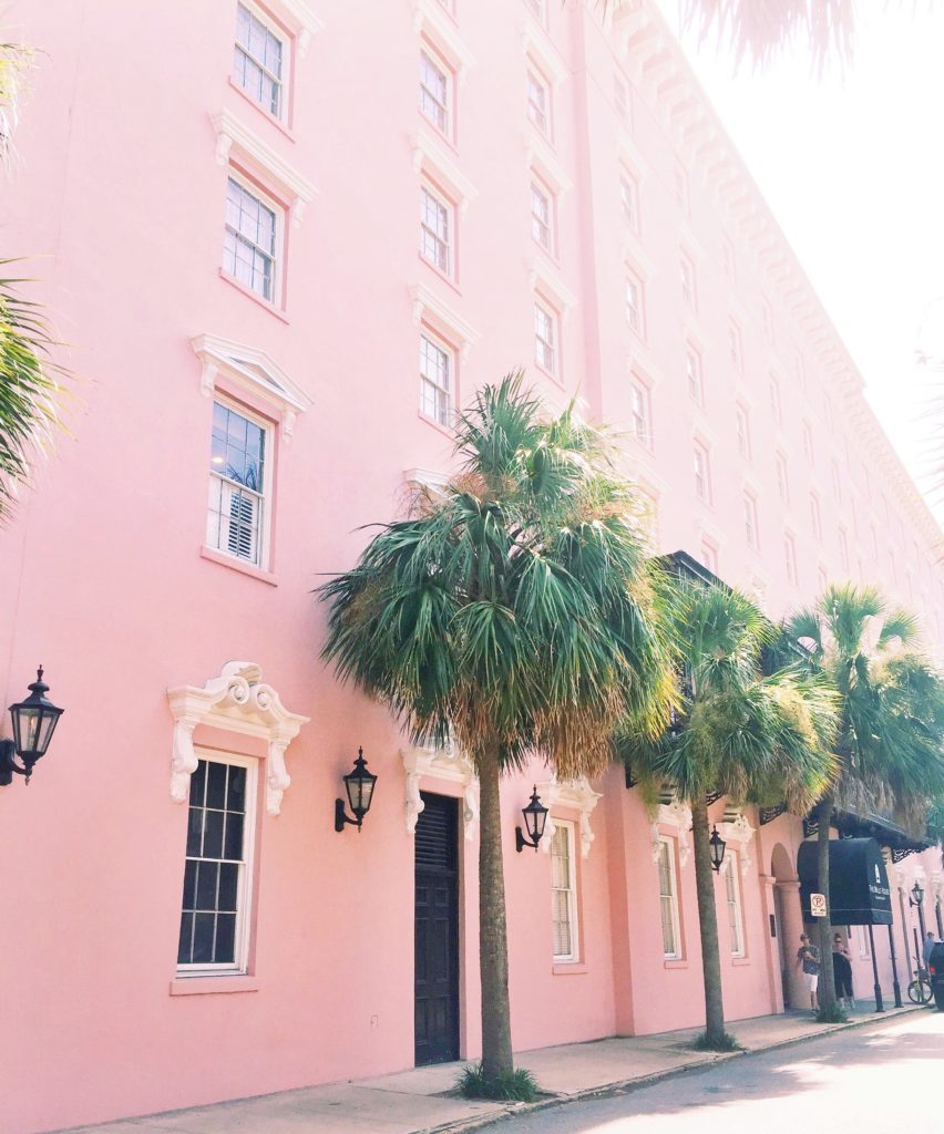 Pink Building in Charleston with Palm Trees