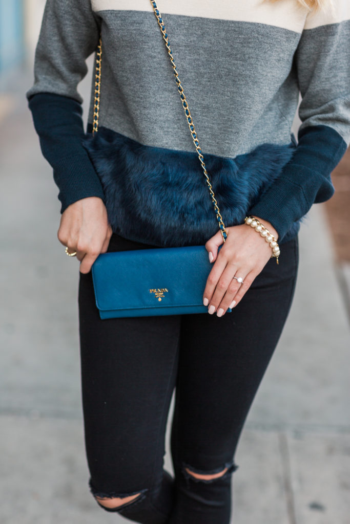 J.Crew Colorblock Sweater with Fur on Rhyme & Reason