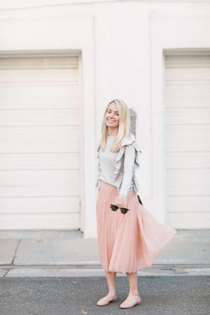 Pleated Midi Skirt on Rhyme & Reason