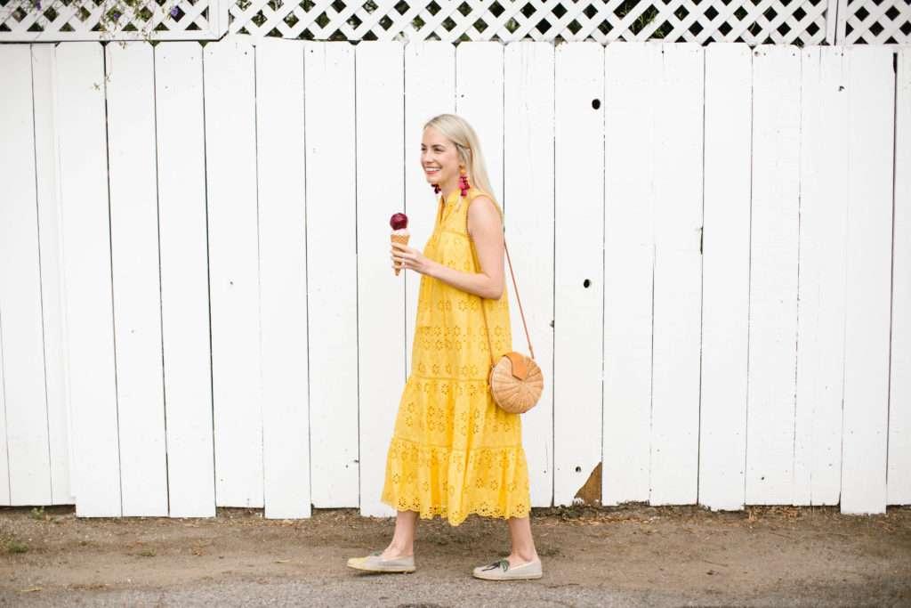 Yellow Eyelet Dress on Rhyme & Reason