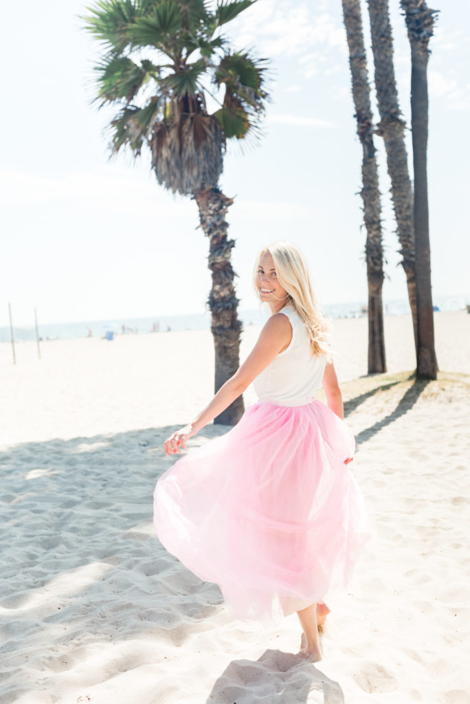 Running on the Santa Monica Beach in a J.Crew Pink Tulle Skirt