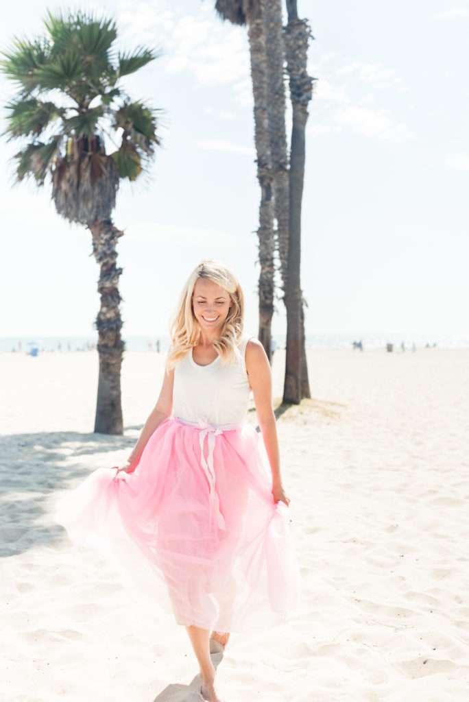 Running on the Santa Monica Beach in a J.Crew Pink Tulle Skirt