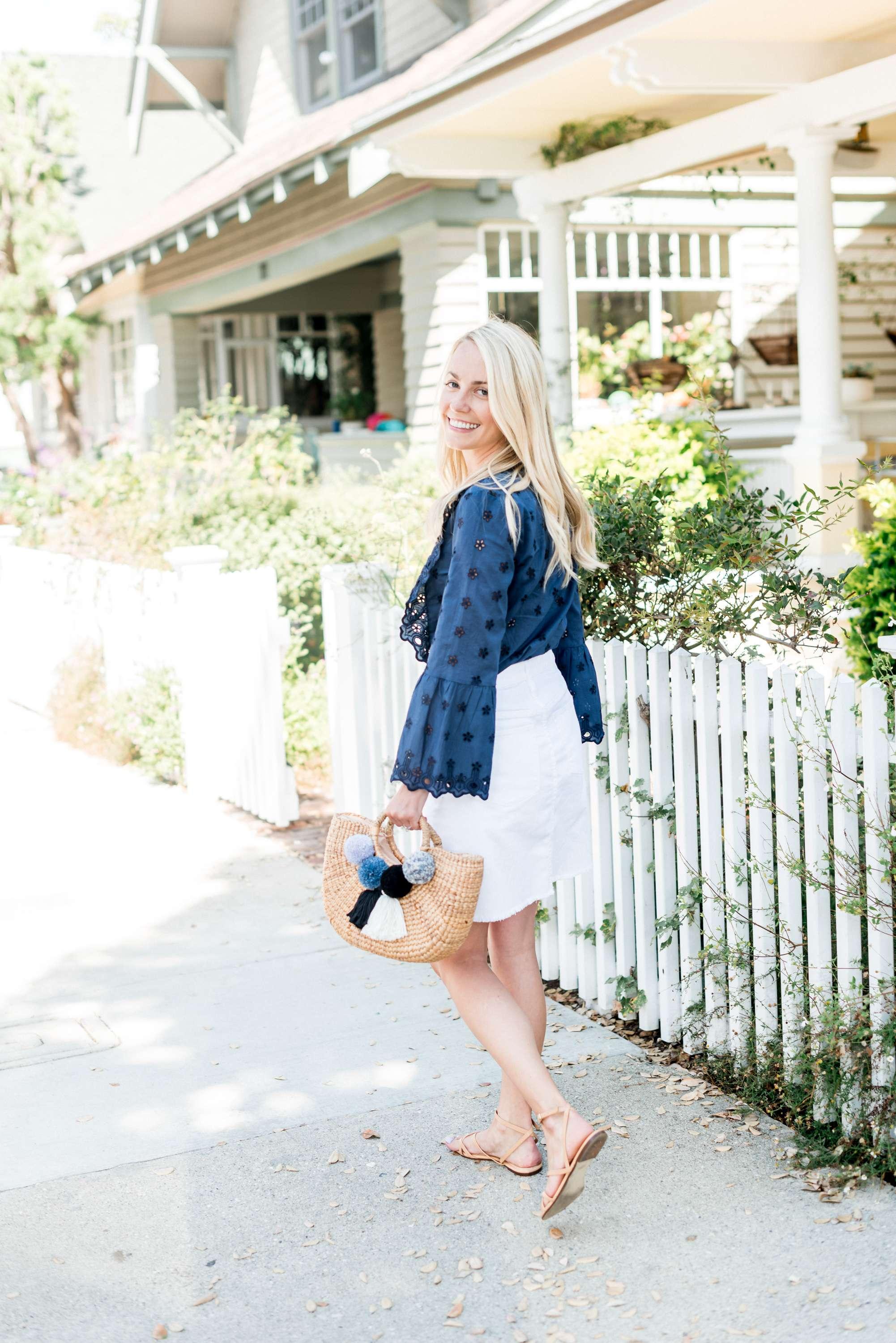 Navy Eyelet Top and White Denim Skirt in Santa Monica
