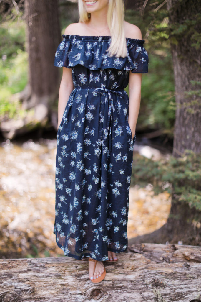 Fall Floral Maxi Dress on the River in Jackson Hole