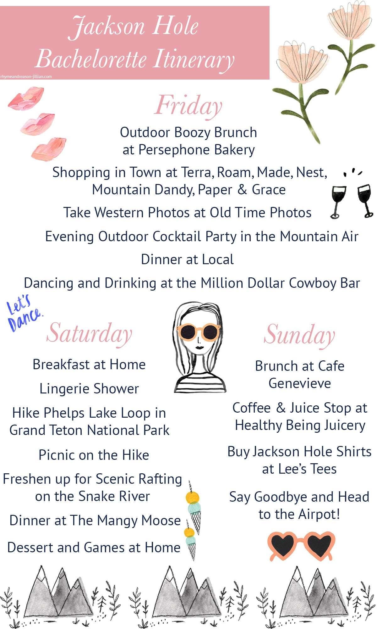 Jackson Hole Bachelorette Itinerary by Rhyme & Reason