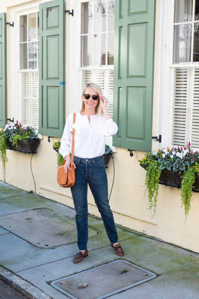 Fall Basics of a White Ruffle Top with Blue Jeans and Leopard Loafers on Rhyme & Reason