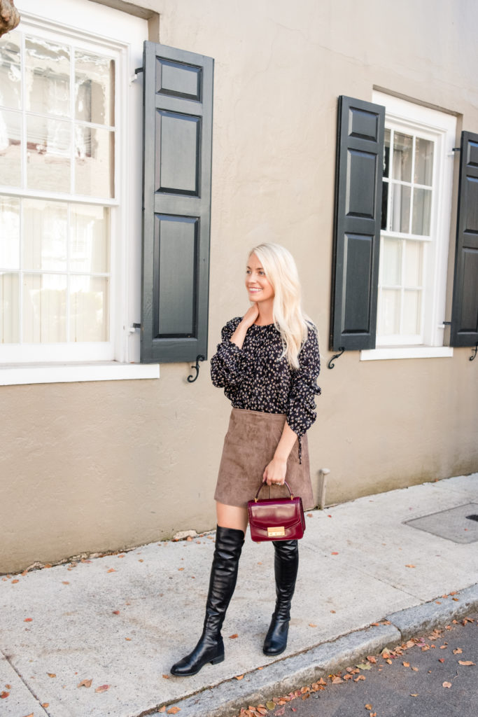 How to Wear Stuart Weitzman 50/50 Over The Knee Boots with a Mini Skirt