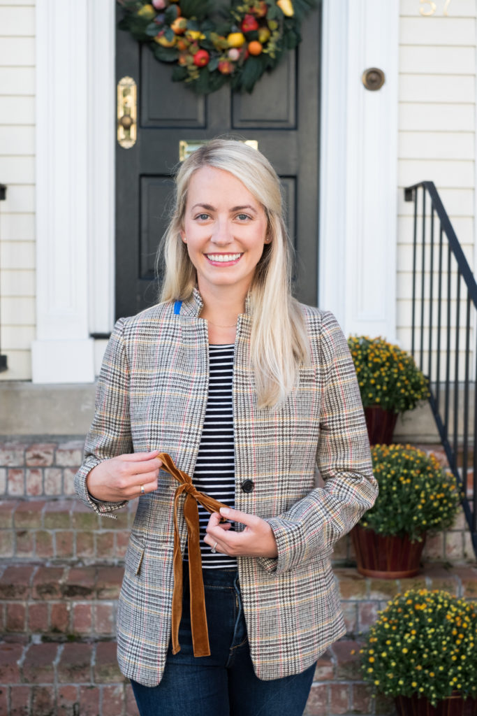 Fall style guide: wear plaid, stripes, and velvet together for a crisp look I Rhyme & Reason