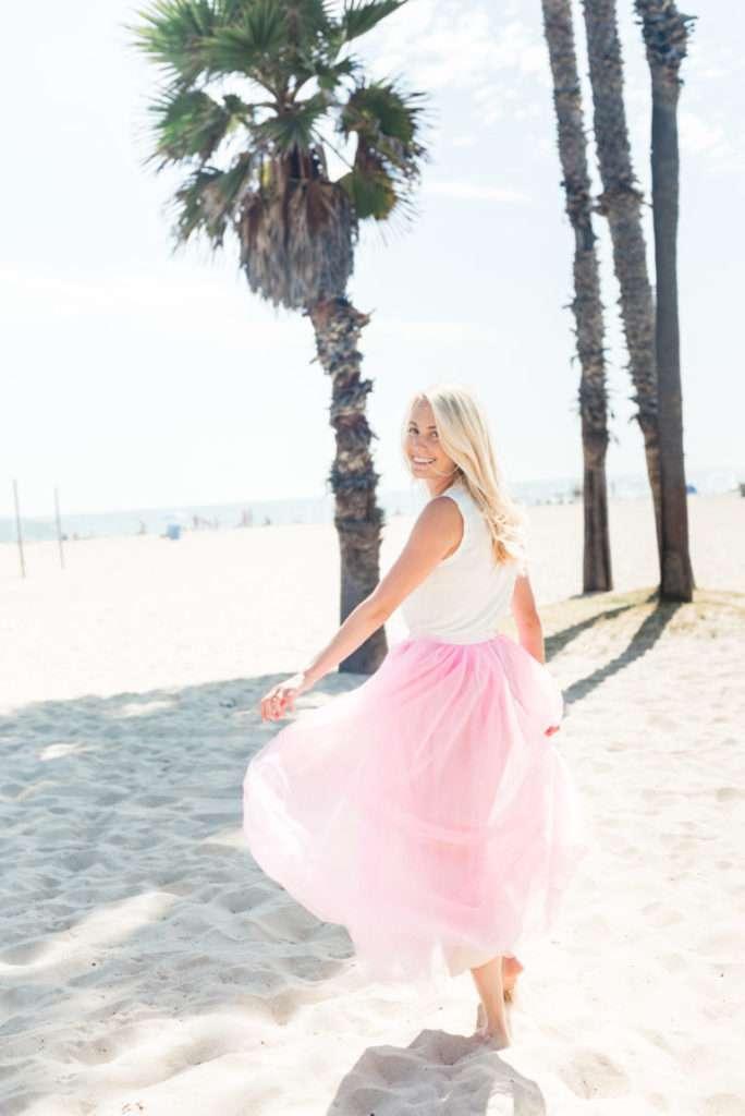 Pink Tulle Skirt on the Santa Monica Beach // Rhyme & Reason