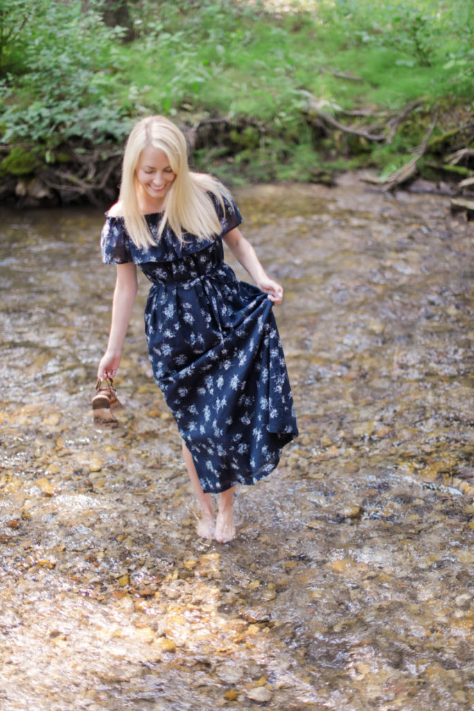 Fall Floral Off The Shoulder Dress in Jackson Hole // Rhyme & Reason
