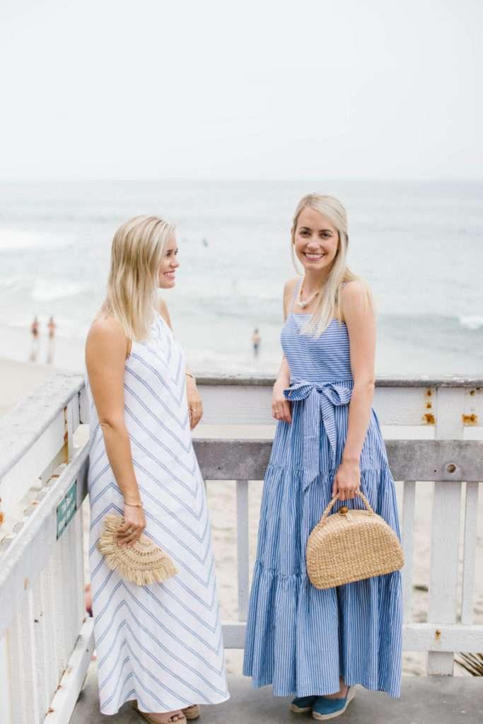 Summertime Blue and White Summer Maxi Dresses in Laguna Beach // Rhyme & Reason