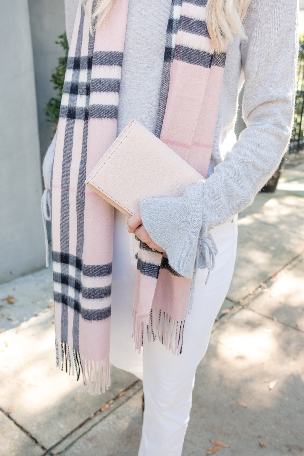 jeans to wear year round and a pink scarf