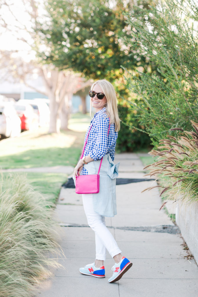 How to wear bright colors with white jeans // Rhyme & Reason