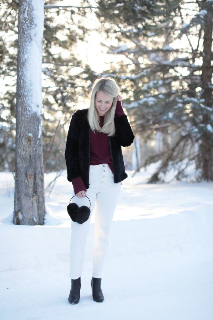 How to wear white jeans in the snow // Rhyme & Reason