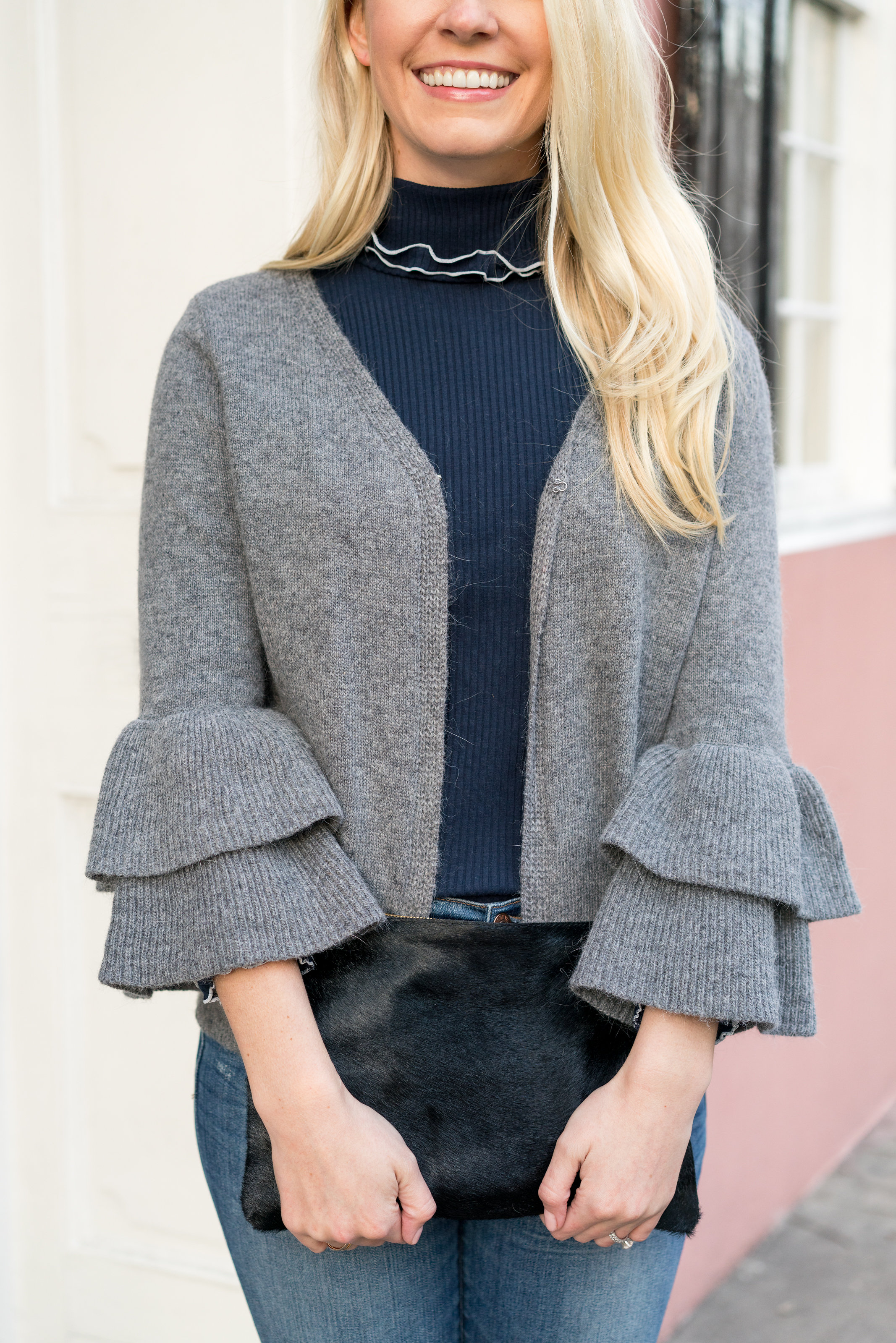 The perfect layering piece for winter going into spring: a ruffle sleeve cardigan // Rhyme & Reason