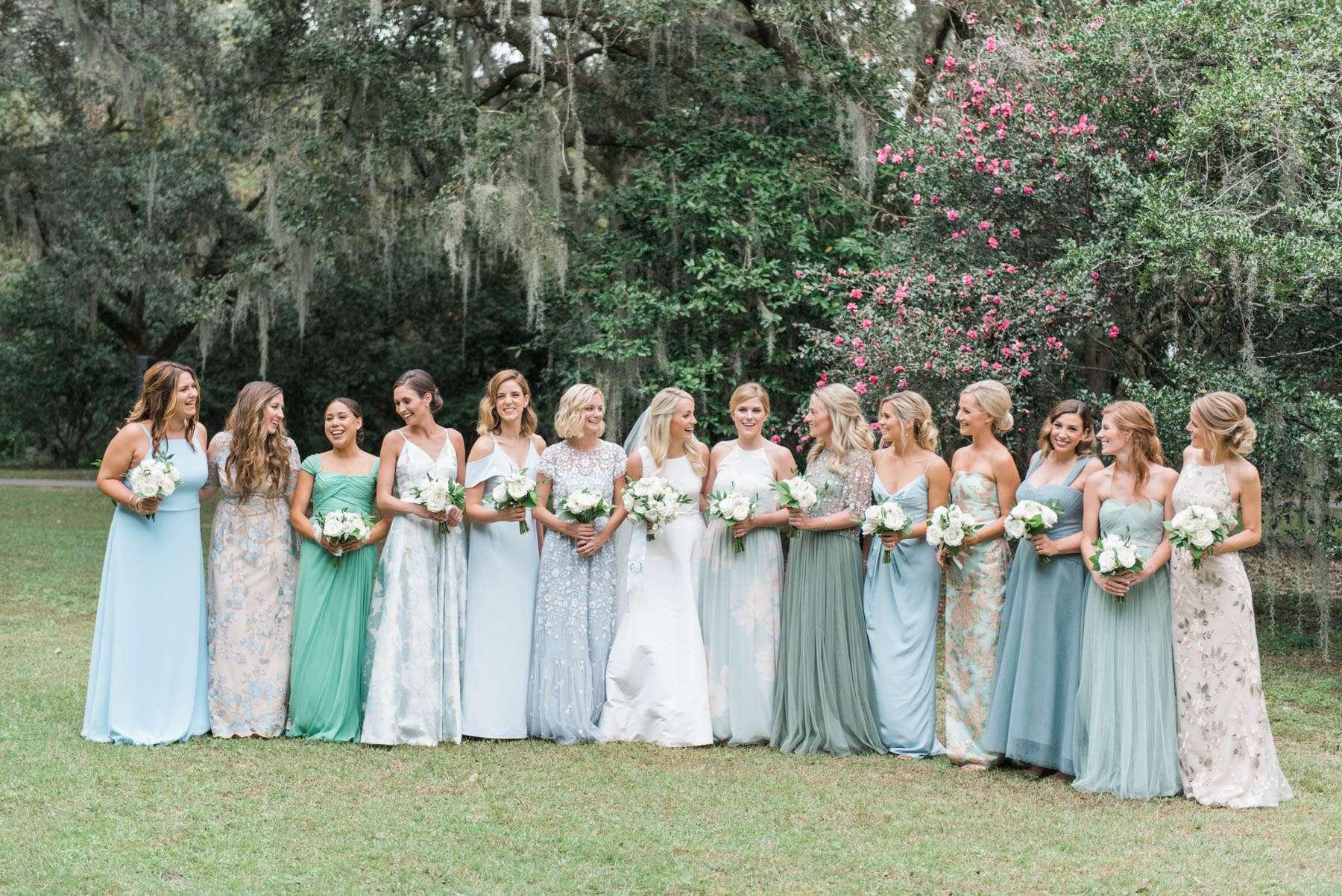 Bridesmaids and Bride, Jillian Attaway, on Wedding Day in Charleston / Jillian Attaway of Rhyme & Reason's Charleston Wedding on Southern Weddings