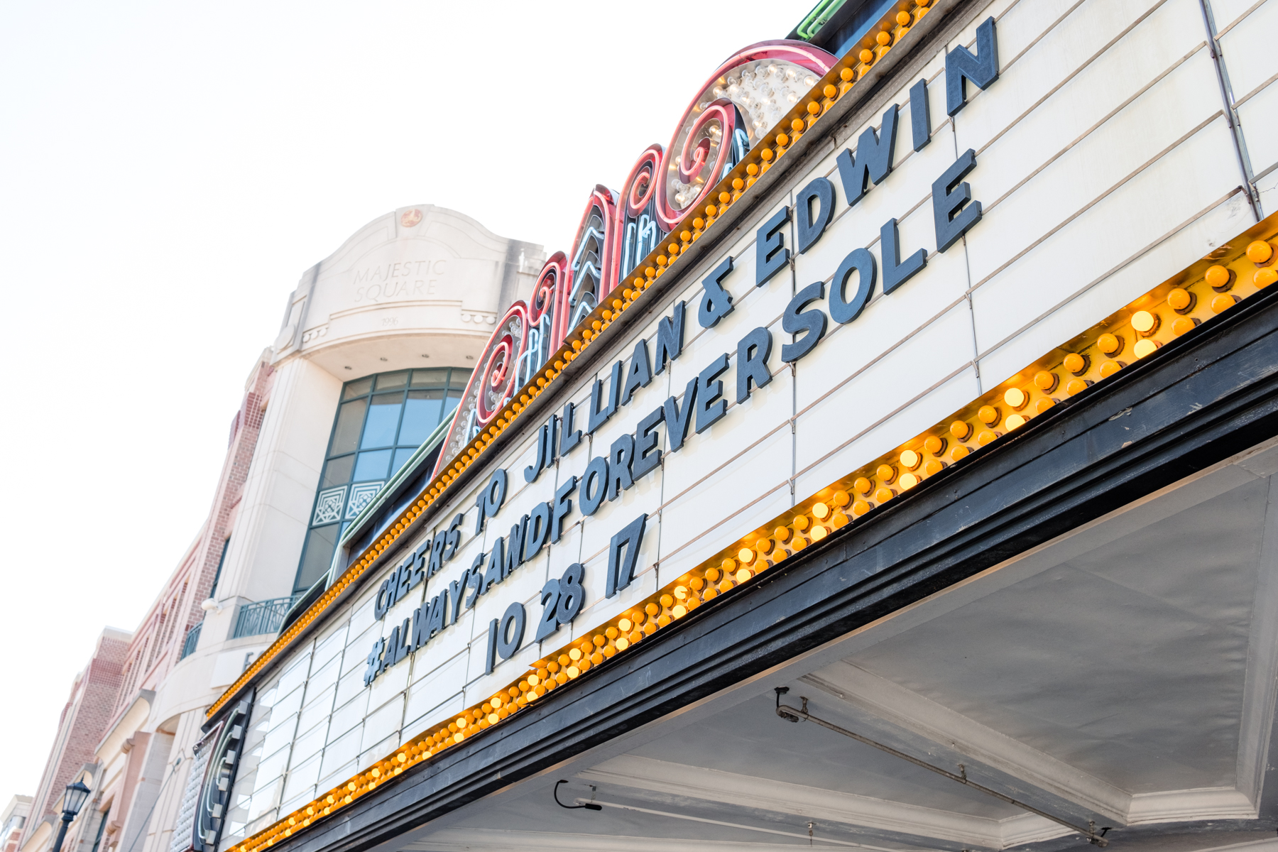 Charleston wedding announcement on an old movie theater // Rhyme & Reason