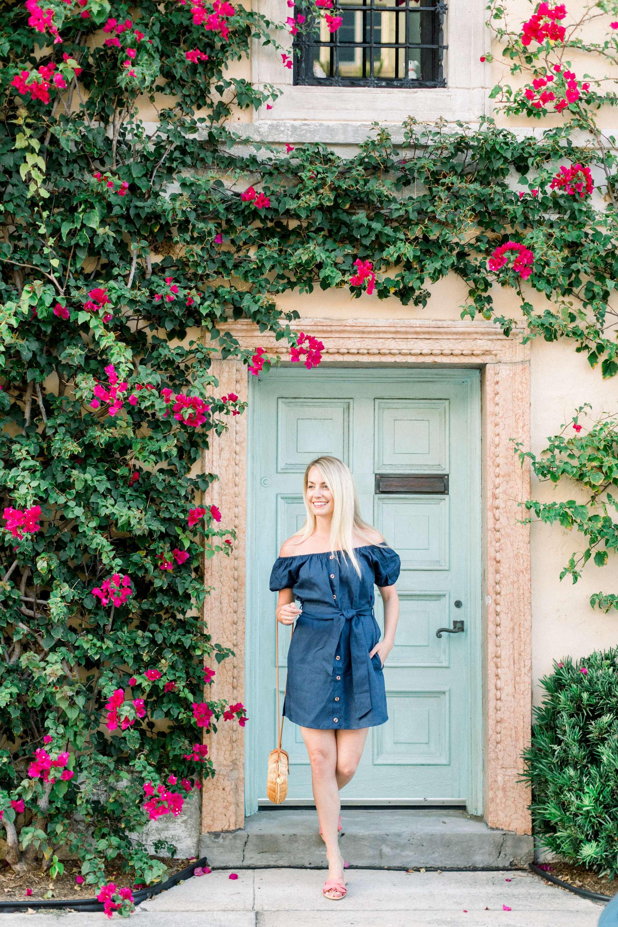 Jillian Attaway styles a little navy linen off the shoulder dress in Palm Beach, Florida // Rhyme & Reason