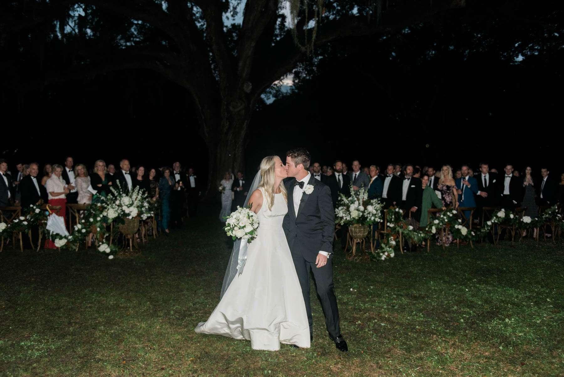 A nighttime wedding exit in Charleston, South Carolina // Rhyme & Reason