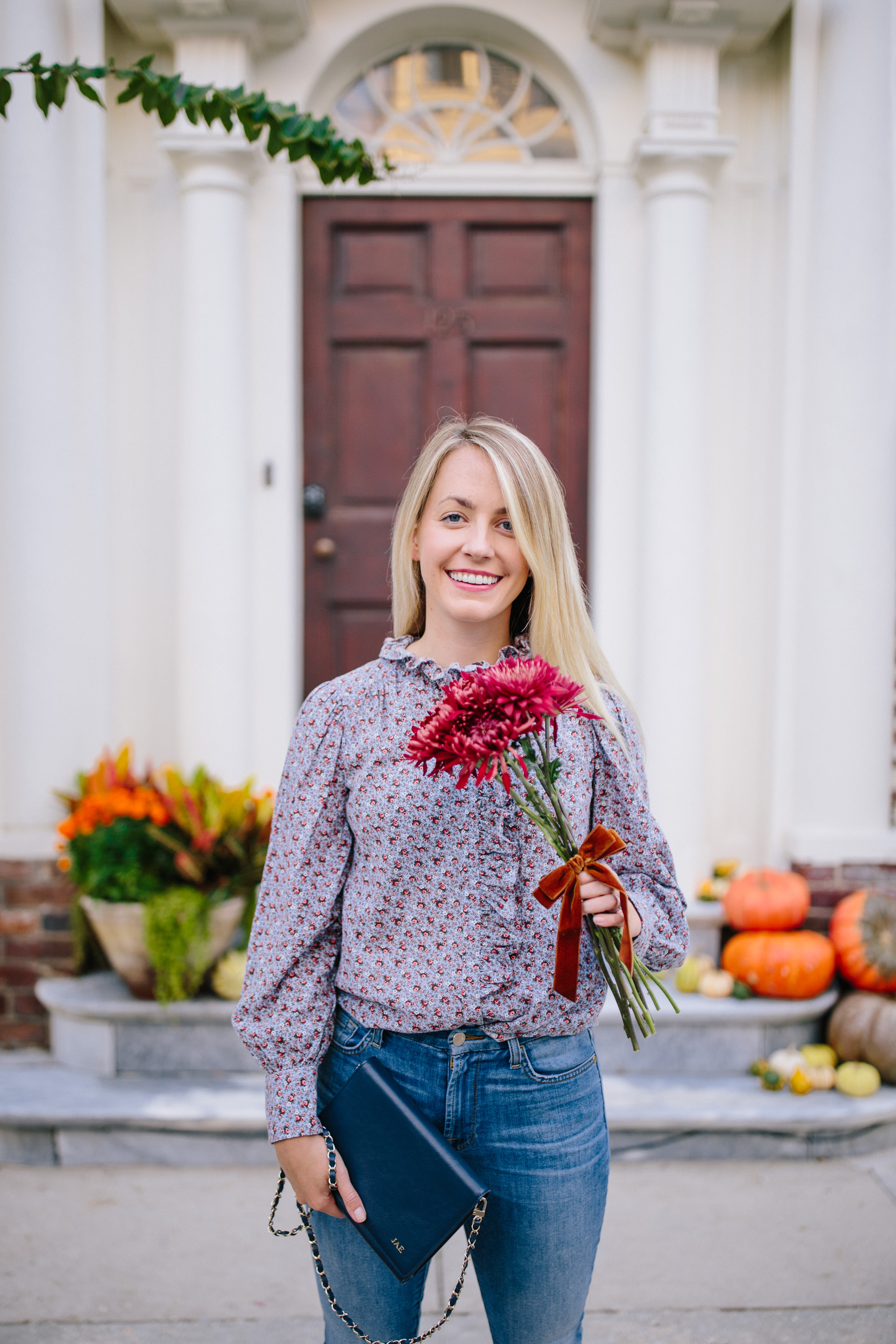 what to wear with a floral blouse in the fall // Rhyme & Reason
