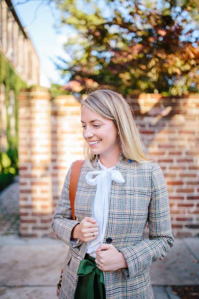 How to style a plaid tweed blazer // Rhyme & Reason