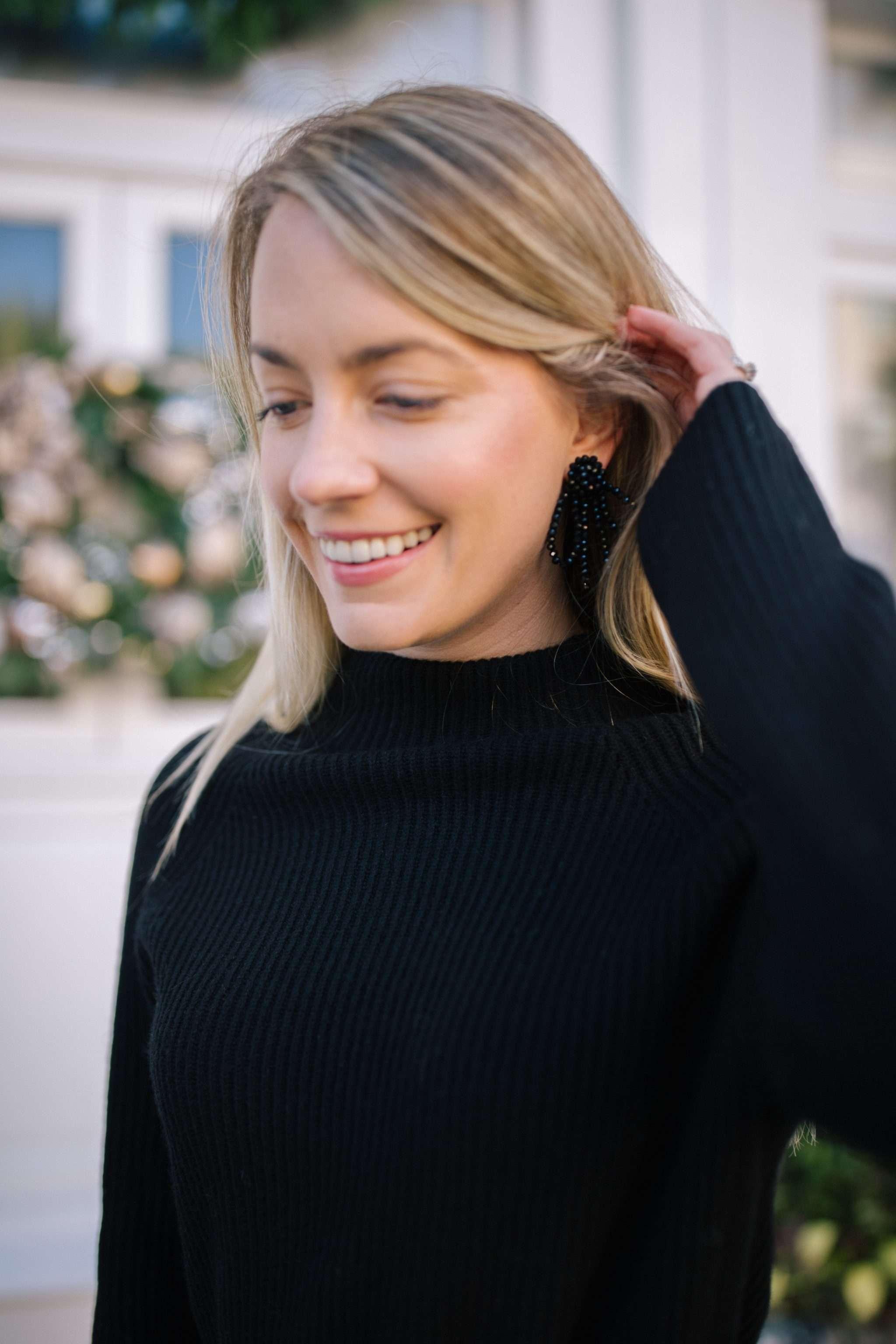 Classic and timeless black statement earrings + feminine statement earrings | Rhyme & Reason
