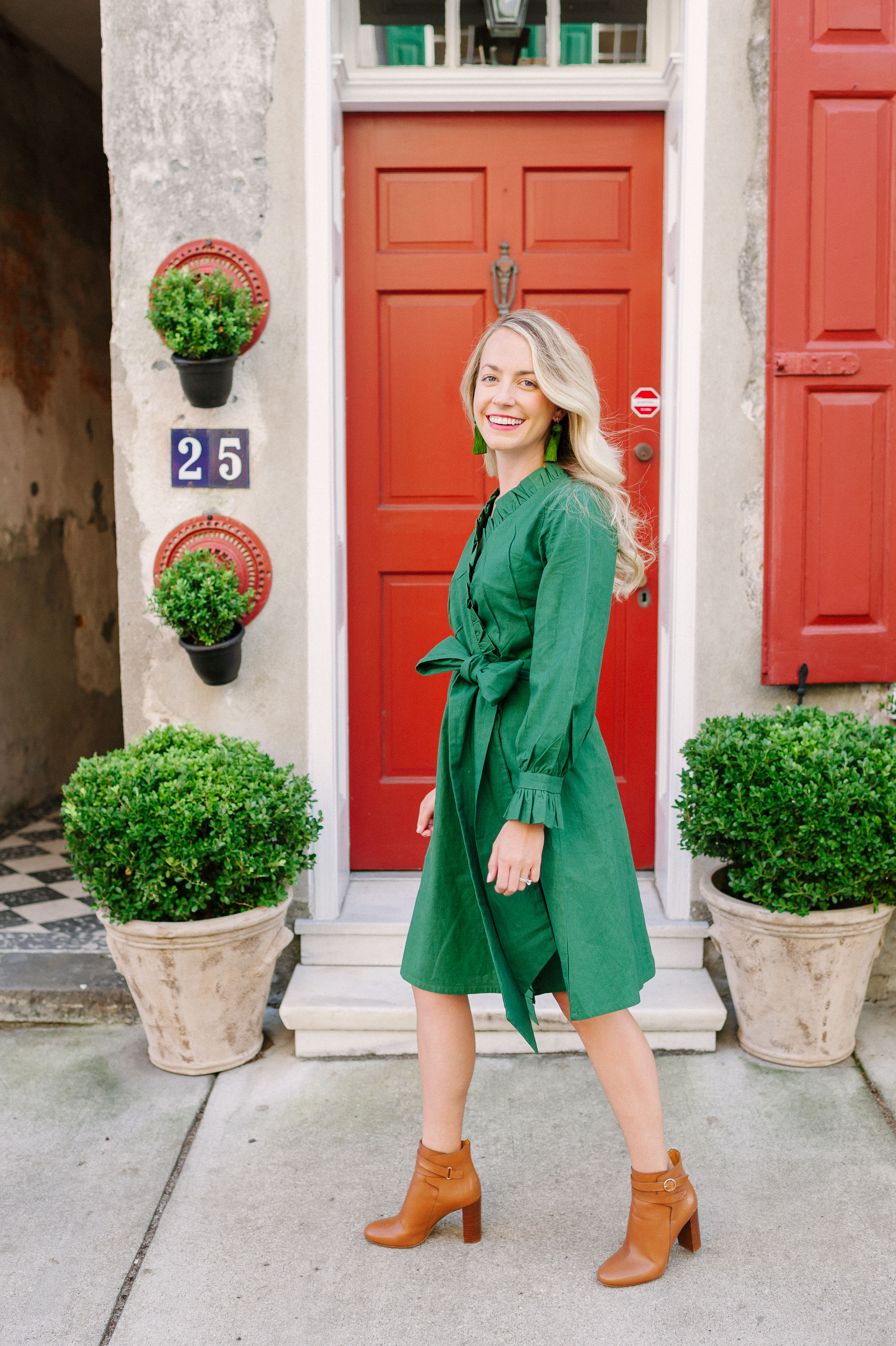The best party dress of the season: The Jillian Dress + must-have a knee-length ruffle wrap dress with ruffle sleeves and a sash at the waistline | Rhyme & Reason