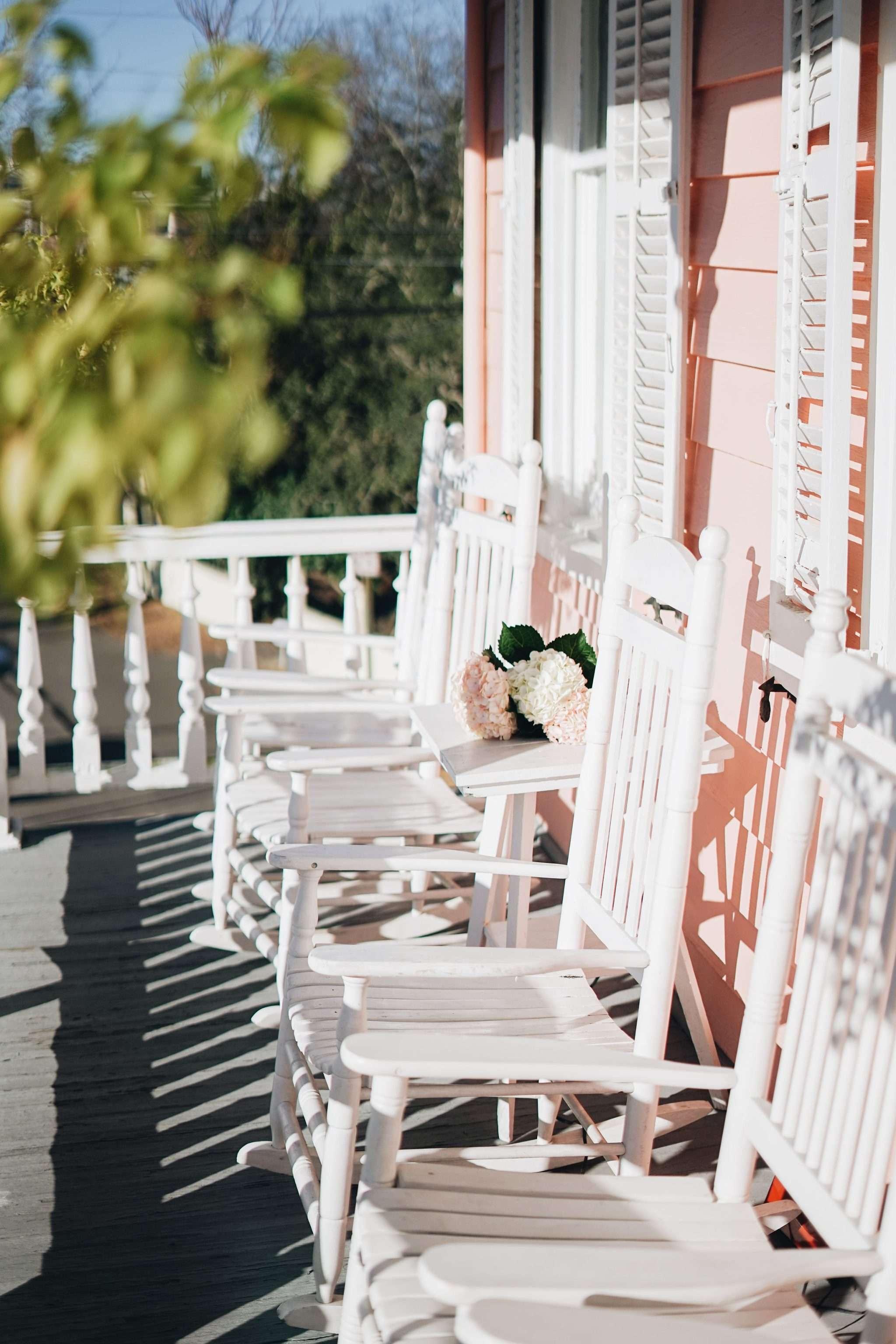 Charleston side porch in spring   Rhyme & Reason