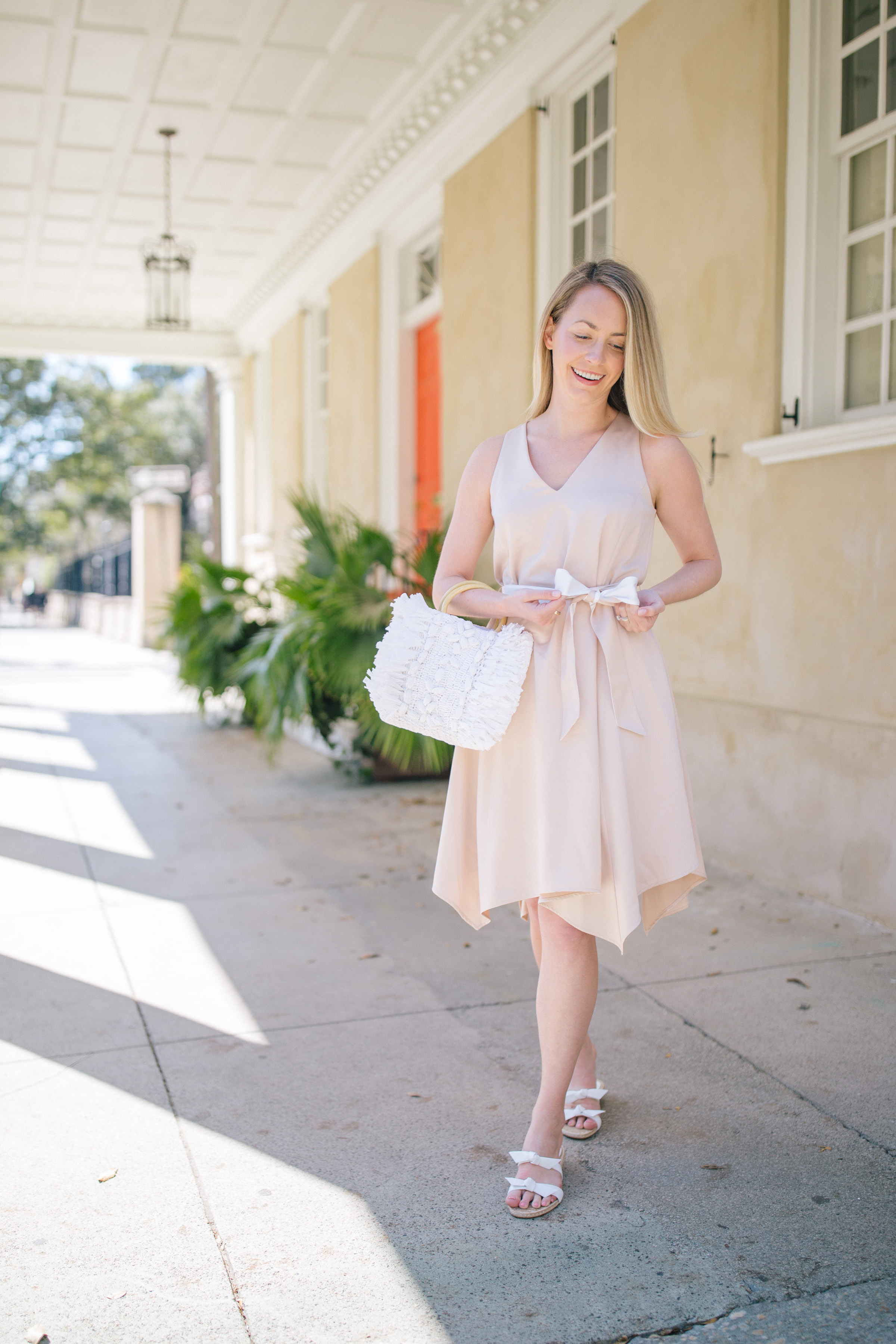 How to dress down a dressy satin cocktail dress with a casual sandal for heading out to dinner   Rhyme & Reason