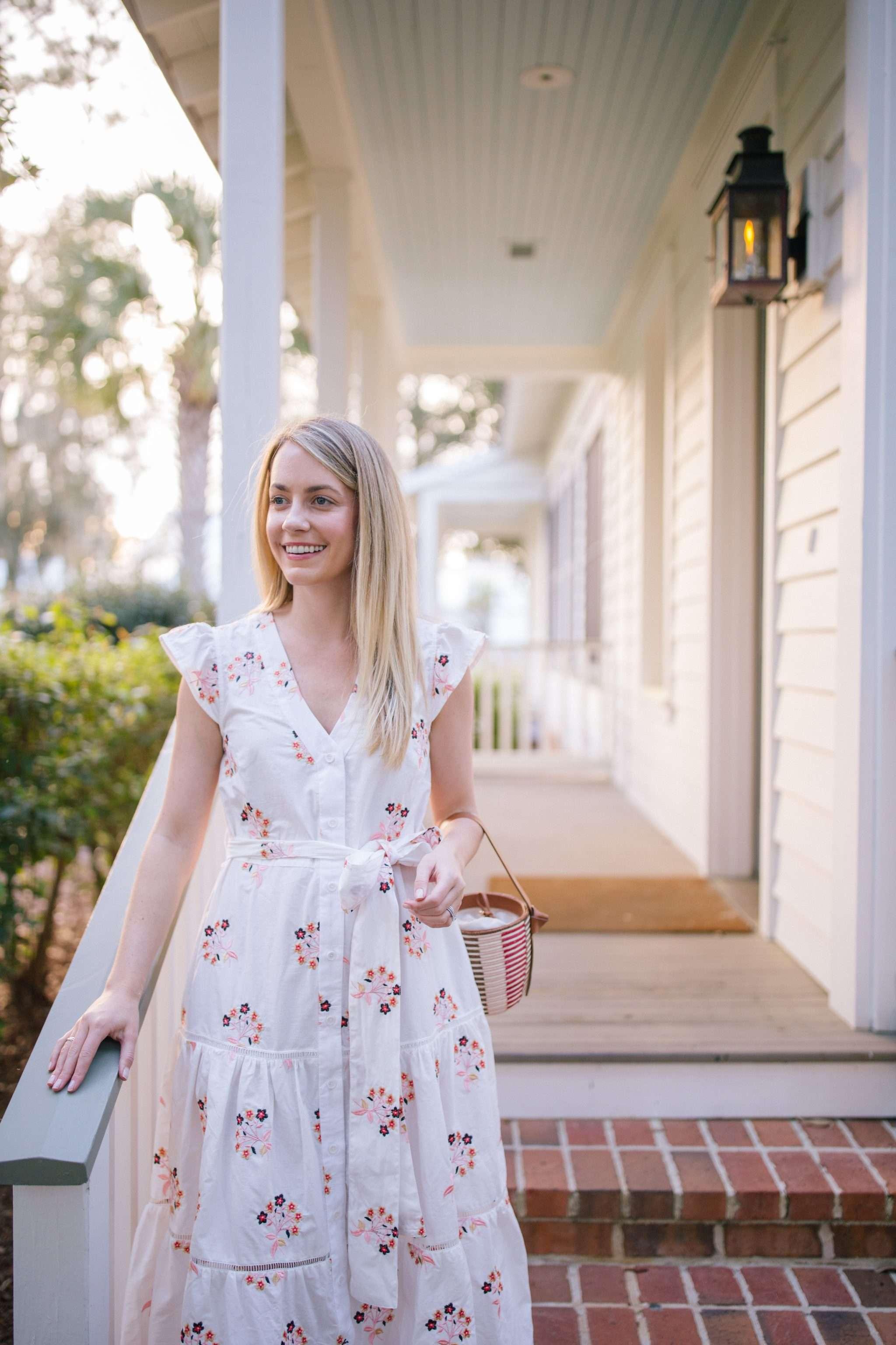 Jillian Attaway Eversole styles a Pearl by Lela Rose white floral dress | Rhyme & Reason