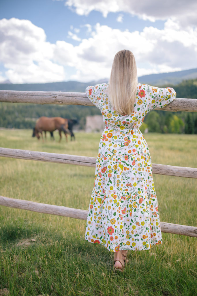 a girl in a dress on a farm