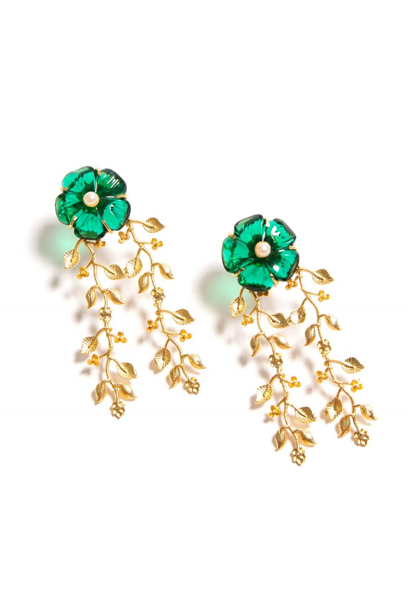 Gift Guide: Gifts for the Party Girl - Green Floral Gal Meets Glam Earrings | Rhyme & Reason