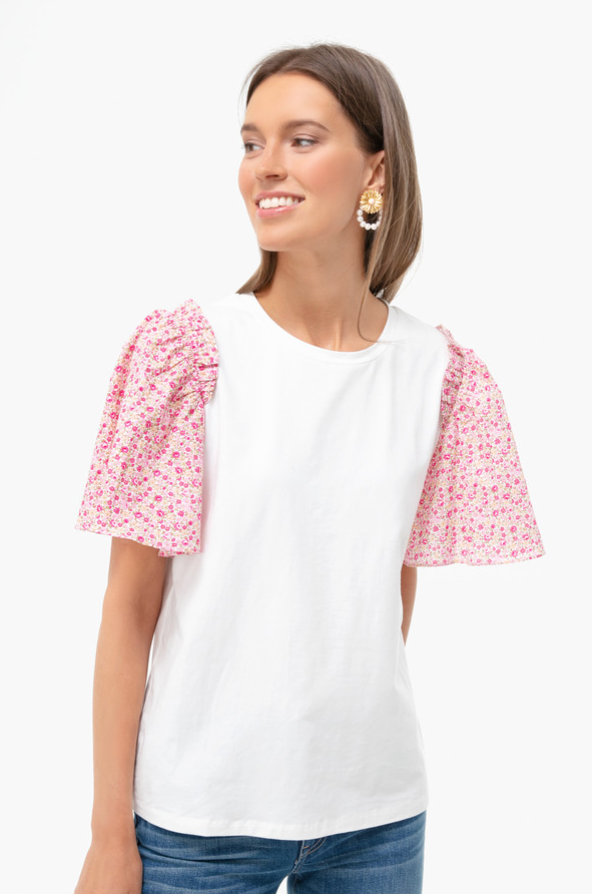Resort Wear Finds Under $100: Pink Floral Sleeve Blouse | Rhyme & Reason