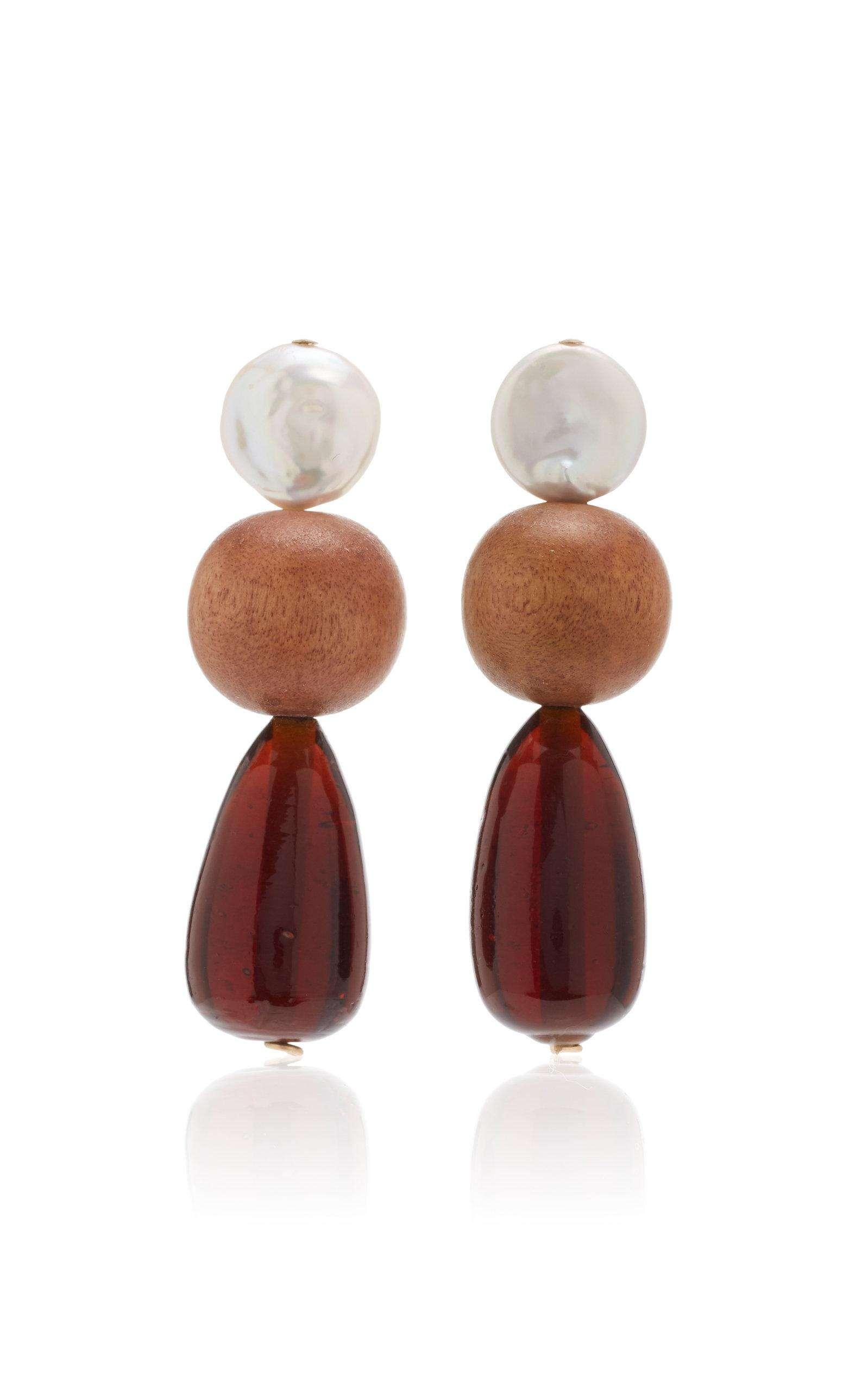 Resort Wear Finds Under $100: Wood and Pearl Drop Earrings | Rhyme & Reason